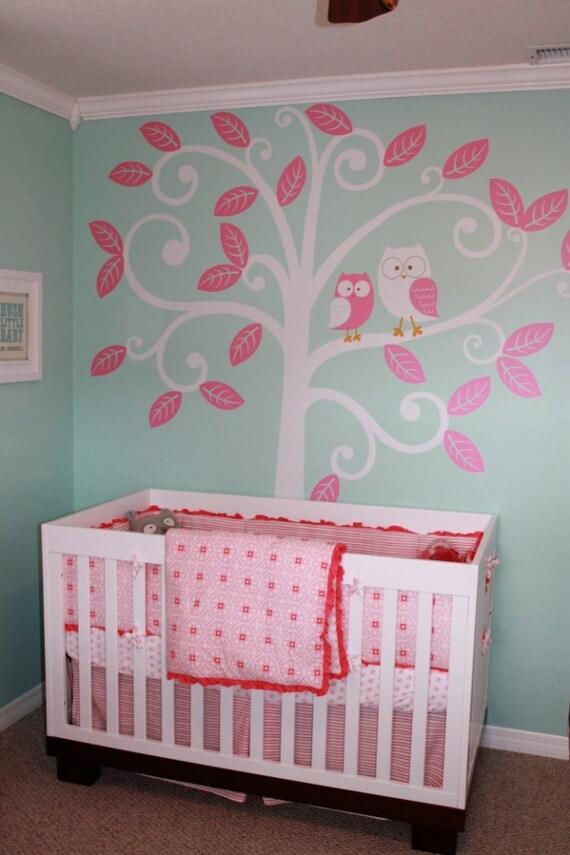 Wall Decal Baby Nursery Decor Owls And Swirly Tree Nursery