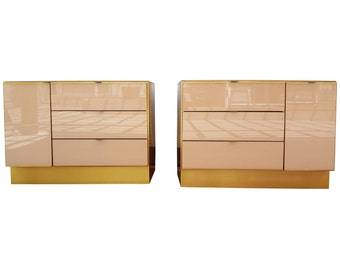 Pair of Glass and Brass Dressers by Ello Furniture 1970's