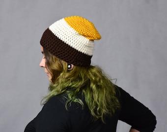 Tri-Color Mustard, Cream and Brown Handmade Crochet Beanie