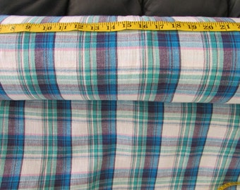 Cotton Gauze Fabric - Blue Plaid, Nautical, Navy, Pink, price per yard, Lightweight, summer fabric, crafts, skirts, peasant blouse