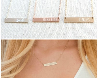 Personalized Engraved Bar Necklace, Custom Name necklace, Gold, Rose Gold and Silver Custom engraved jewelry,Grandma gift