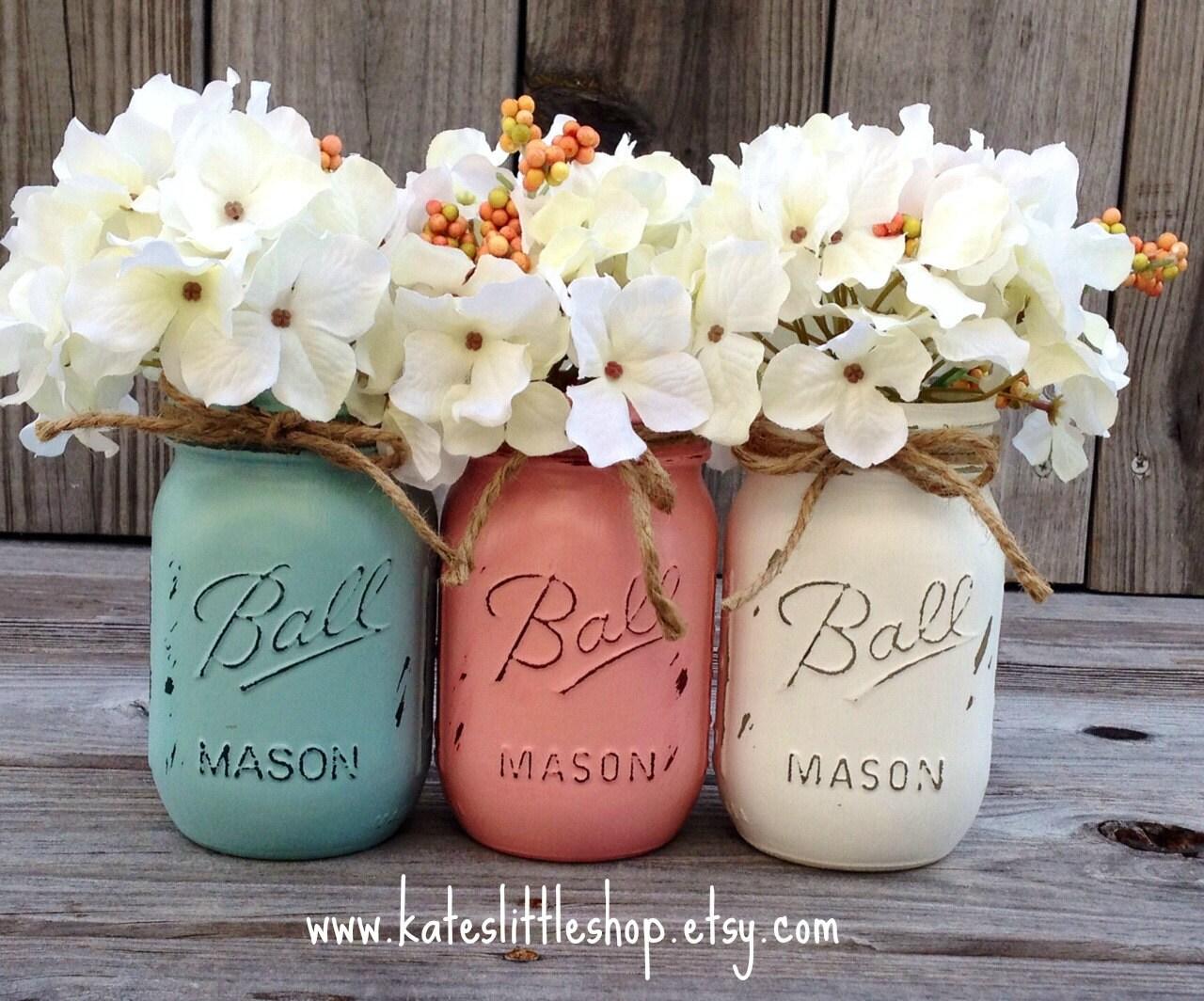 Painted mason jars vase vintage looking painted mason jars zoom reviewsmspy