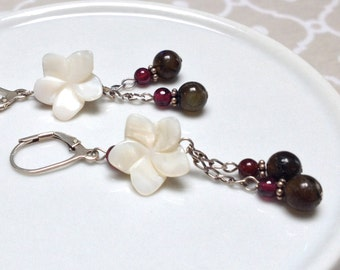 Shell Flower, Red Garnet and Laboradorite Beaded Dangle Earrings