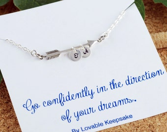 Sterling silver arrow necklace, graduation gift, go confidently in the direction of your dreams, college graduation gift her,