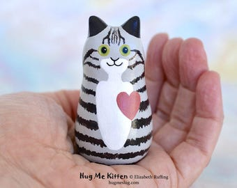 Handmade Kitty Cat Figurine, Miniature Sculpture, Gray and Black Tabby, Mauve Hug Me Kitten, Animal Totem Charm Figure, Personalized Tag