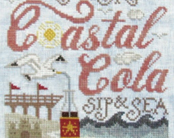 NEW! SILVER CREEK SAMPLeRS Coastal Cola counted cross stitch patterns at thecottageneedle.com 2018 Nashville Market