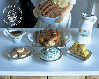 Dollhouse Miniature Turkey Dinner Set