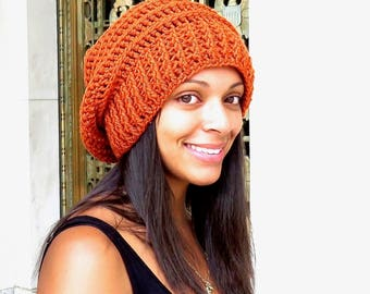 Crochet Slouchy Hat, Tam Hat, Ribbed Hat, Beehive Hat, Crochet Hat, Color is Orange,