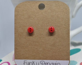 Sterling Silver (925) Button Stud Earrings - Red