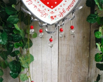 Sentimental Versed Heart Dish, Upcycled into Beautiful Keepsake, Wind Chime with Handmade Stained Glass Chimes, Suncatcher