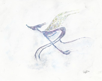 Angel Flying - A4 Print or A5/A6 card