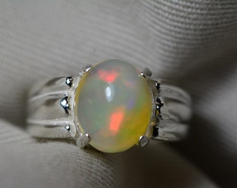Opal Ring, 2.84 Carat Solid Opal Cabochon Solitaire Ring Appraised at 850.00, Real Opal Jewelry, Sterling Silver Size 6 1/2