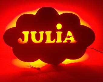 Lamp in the shape of cloud with name