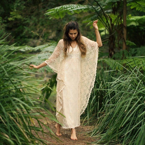 Angel Lace Bohemian Beaded Bridal Kaftan Dress, Gypsy Caftan Wedding Dress