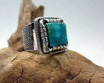 Water Dragon Ring, Turquoise and Sterling Silver, size 7 1/4, Kingman Waterweb Turquoise, boho ring, Southwestern style ring, square ring