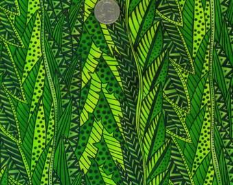 RARE Laurel Burch Secret Jungle Green Leaves 1/2 Yard Fabric