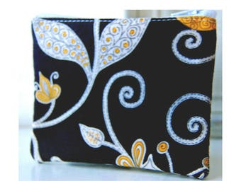 Vera Bradley zippered bag Handmade yellow bird black print small zipper pouch wallet change purse friend gift idea zippered bag