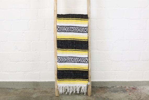 """große traditionell gewebte Decke aus Mexiko 180 x 130 cm gelb braun """"Falsa"""" Stranddecke Sommer Accessoire beach must have Navajo blanket"""