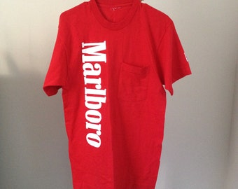 ON HOLD red mens marlboro cigarette tshirt promo medium parody meme small medium
