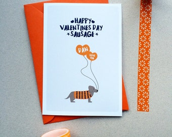 Personalised Sausage Dog Valentines Card - Dachshund Card - Dachshund Valentines Card - Valentines Card For Boyfriend - Sausage Dog Card