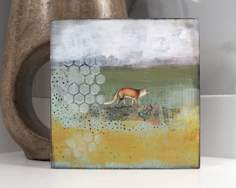 Abstract Animal Paintings, Fox Painting,  Abstract Wall Artwork, Original Landscape Painting, Modern Art Abstract Animal Paintings