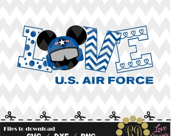 LOVE Air Force Mickey svg,png,dxf,cricut,silhouette,college,jersey,shirt,proud,birthday,invitation,butler,cutting,army,navy,steal,pilot