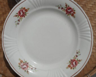 8 pink earthenware french vintage floral plates