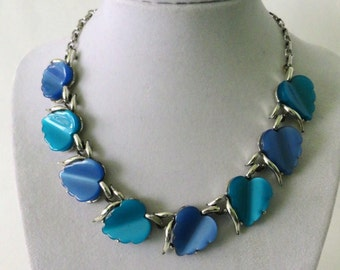 Vintage Pegasus CORO Silvertone Necklace with Two-Tone Blue Lucite Stylized Leaves