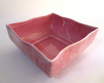Vintage Pink Covina Pottery Centerpiece Bowl, Covina Pottery 915 USA-Calif, Square Pink Planter with White Highlights, Covina Square Planter