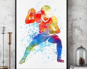 Football Print, NFL Watercolor Prints, Football Wall Art, Sports Wall Decor, Football Mom, Birthday Gift