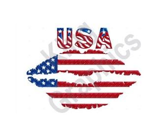 American Flag Lips - Machine Embroidery Design, Kiss, USA