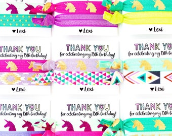 UNICORN Birthday Favors | Unicorn Party Hair Tie Favors | Personalized Party Favors for Girls, Boho Rainbow Unicorn Birthday Party Favors