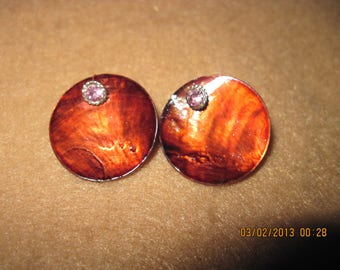 Sterling Silver Swarvoski Crystal Round Studs w/ Brown Shell... 2 in 1 Earrings...one of a kind..1347h