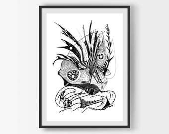 Printable Wall Art, Digital Download, Instant Dowload, Modern Art, Modern Black Decor, Original Art, Home Decor Wall Art, Abstract Print