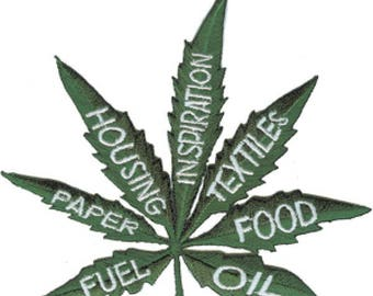 Hemp Uses Leaf Embroidered Patch, Cannabis, Pot, Legalize, 420, Weed