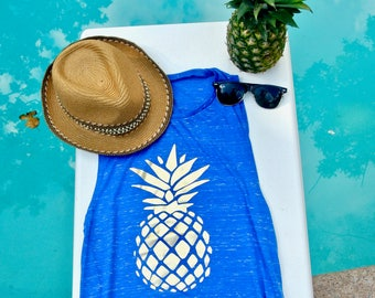 Gold Foil Pineapple Tank//Muscle Tank for Her//Tank for Her