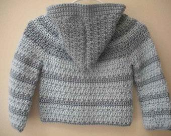 Hand-crocheted boy's hooded sweater jacket, blue/dark blue stripes