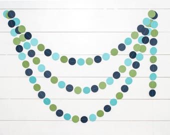 Party Garland - Aqua, Navy and Green - 14ft