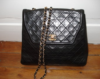 Chanel black leather bag