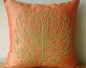 "Designer Orange Pillow Cases, 16""x16"" Silk Pillowcase, Square  Beaded Green Tree Pillows Cover - Money Tree"