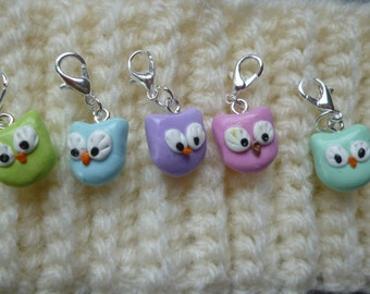 Set of 5 cute stitch markers made of polymer clay by hand, owls markers, knitting, OWL charm accessories