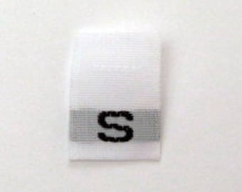 Size S (Small) Woven Clothing Size Tags (Package of 250)
