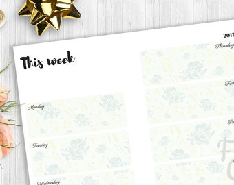 Printable A5 Planner Insert - Weekly Layout, A5 Planner Pages, A5 planner inserts, A5 planner refills,half size planner pages, filofax a5