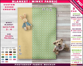 Blanket - Minky Fabric | Photoshop Fabric Mockup MB-1 | 30x40 Top Full Blanket | Stitches Tags Toys | Smart Object | 22 Minky colors