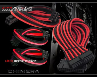Computer Extention PC cable Set - BLACK & RED