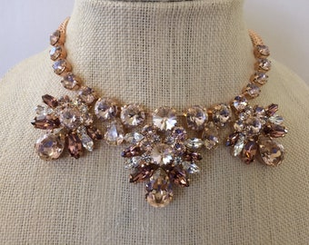 Blush Rose Gold Swarovski Crystal Teardop Bridal Statement Necklace, blush Statement Necklace,wedding necklace, bridal bib necklace, choker
