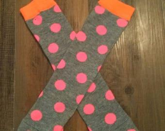 Baby Girl Leg Warmers  Pink Orange Dots