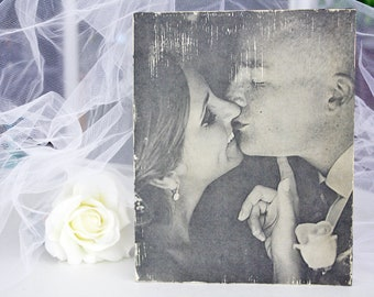 Wedding Photo Gift, Wedding Gift, Rustic Wedding Gift, Photo Transfer, Bridal Shower Gift, Picture Wood Canvas, Custom Photo Art, Photo Gift