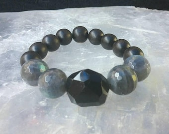 Faceted Black Onyx and Labradorite beaded Gemstone Bracelet. Protection and healing