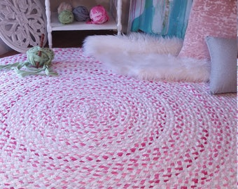 """60""""pink and gray braided rug, with white  blend of color shabby chic style"""